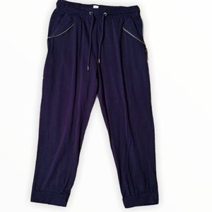 Navy Sweatpants with Zipper Detailed Pockets